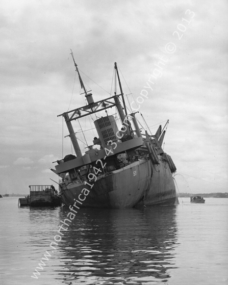 USS Thomas Stone Being Salvaged North Africa 1943-44